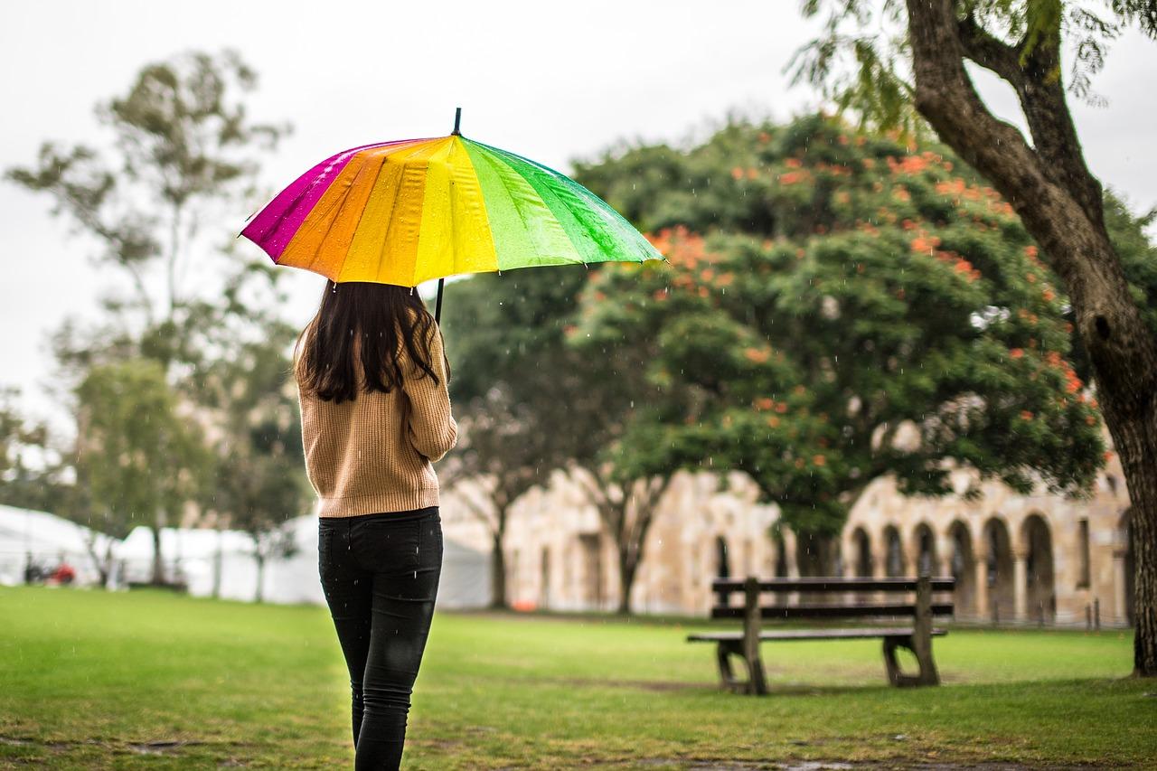 Deštník, déšť, dívka, počasí