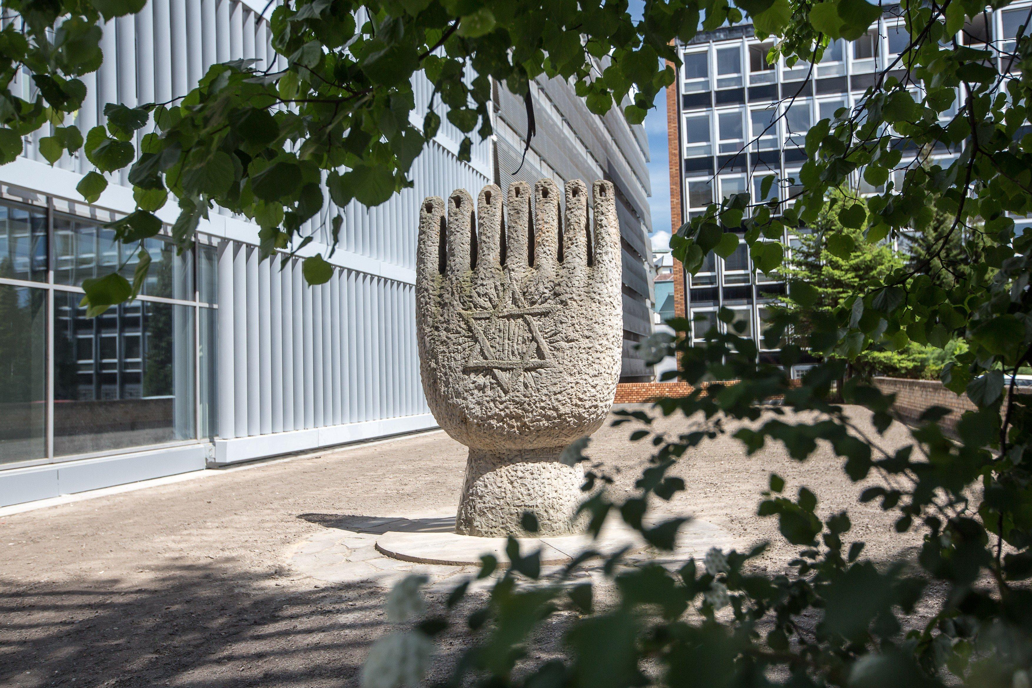 Židovský pomník v Českých Budějovicích na místě, kde stála synagoga