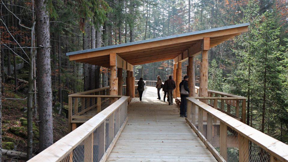 Výběh má zhruba tři hektary a nad ním v korunách stromů vede zhruba 300 metrů dlouhá dřevěná lávka s odpočívadly a lavičkami