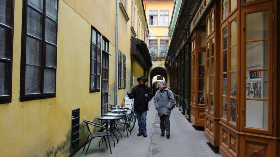 Krajinskou ulici spojuje se sousední Českou ulicí nenápadný úzký průchod. Právě na tomto místě byl vůbec první obchodní dům mezi Prahou a Vídní