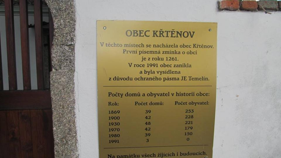 Mezi obce, které zanikly kvůli výstavbě jaderné elektrárny Temelín, patřil Křtěnov