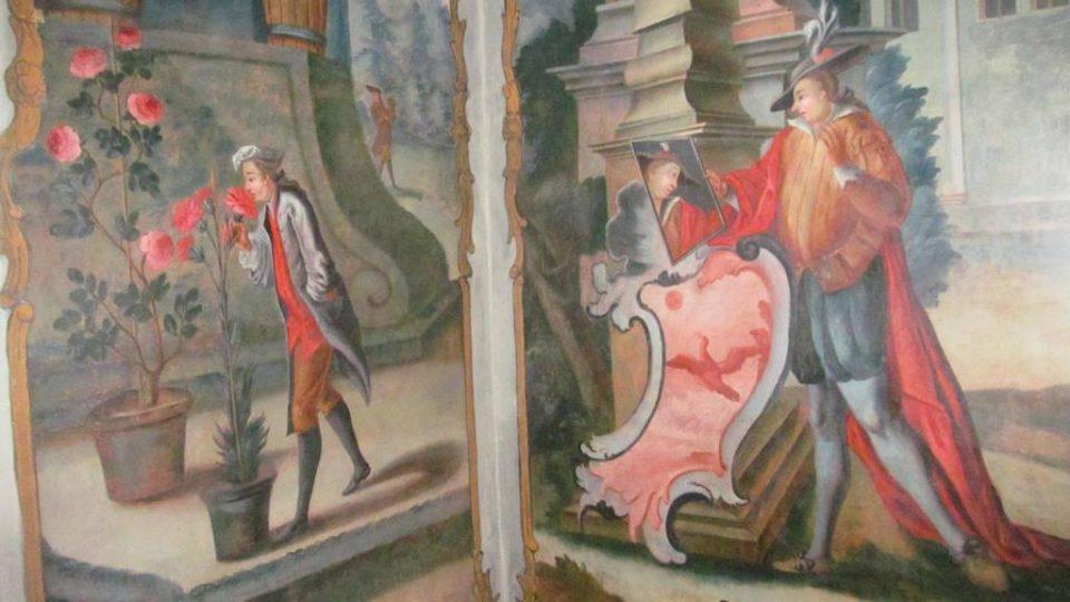 Nástěnná malba na zámku Mitrowicz v Kolodějích nad Lužnicí