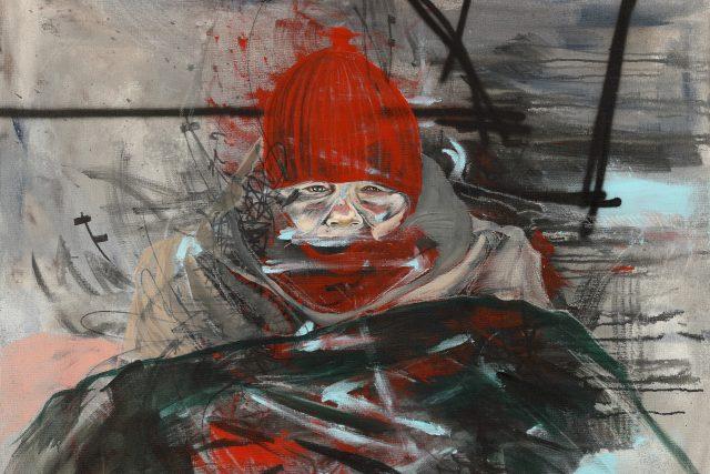 Na obrazech,  které umělkyně TOY_BOX připravila pro výstavu v českokrumlovském Egon Schiele Art Centru,  zachycuje lidi na okraji společnosti,  téma práv zvířat a svoje zkušenosti z pobytu v Krumlově | foto:  Egon Schiele Art Centrum Český Krumlov