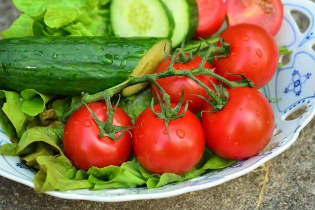 zelenina, rajčata, okurka, salát