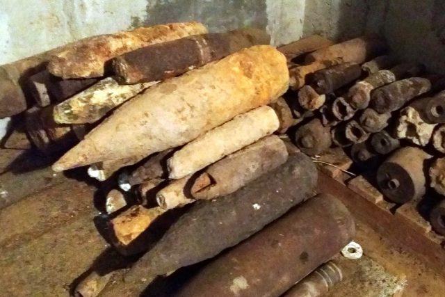 Policejní sklad nalezené nevybuchlé munice ve Frýdku-Místku