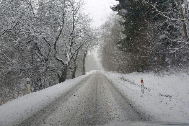 Sníh ve středu 13. ledna 2016 na Šumavě