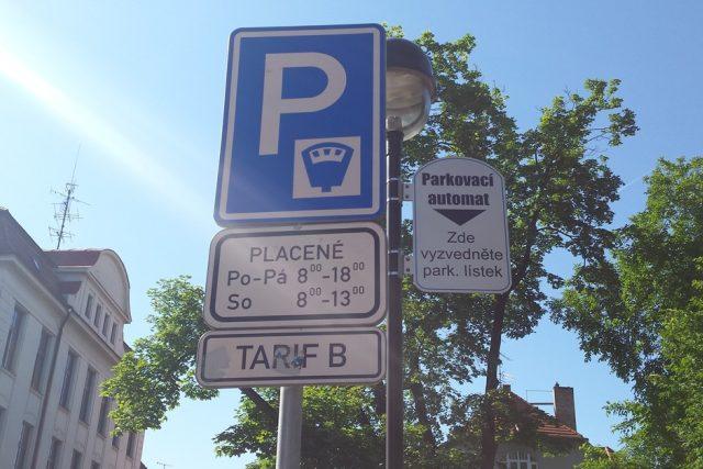 Parkování, automat, značka, České Budějovice