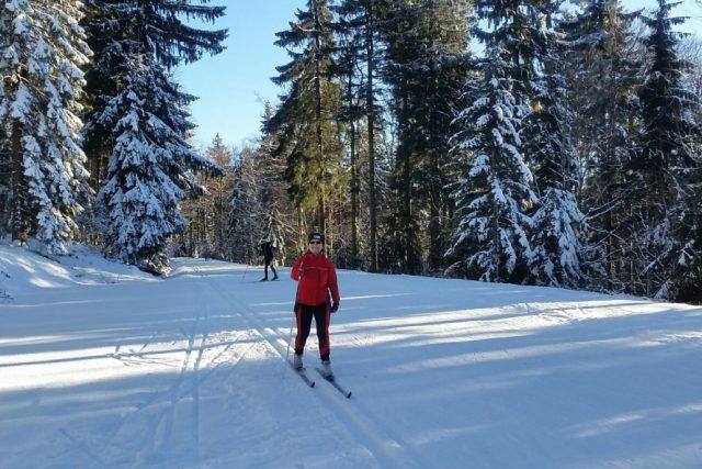 Běžkování v okolí vesnice Schöneben na rakouské straně Šumavy