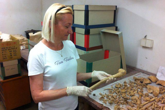 Archeoložka Zuzana Thomová ukazuje kosti, které byly vyzvednuty z Piaristického náměstí. Na tomto místě byl totiž středověký hřbitov, pohřbívalo se tu od 13. do poloviny 18. století