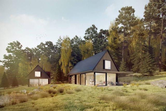 Vizualizace soběstačných rodinných domů, které se mají stavět u Vyššího Brodu