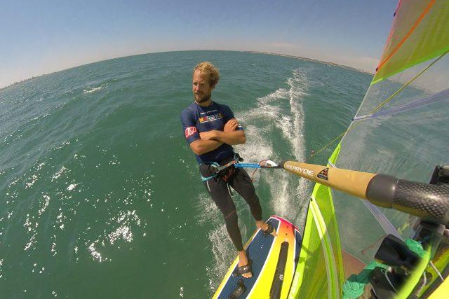 Karel Lavický na svém windsurfu