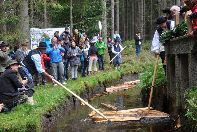 Ukázka plavení dřeva na Schwarzenberském kanále | foto: Fotobanka Profimedia