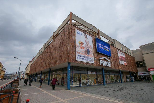Obchodní dům Prior České Budějovice, brutalismus, socialistická budova, Lannova třída