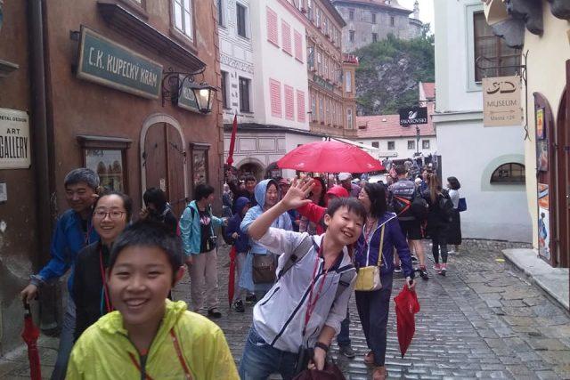 Asijští turisté v Českém Krumlově