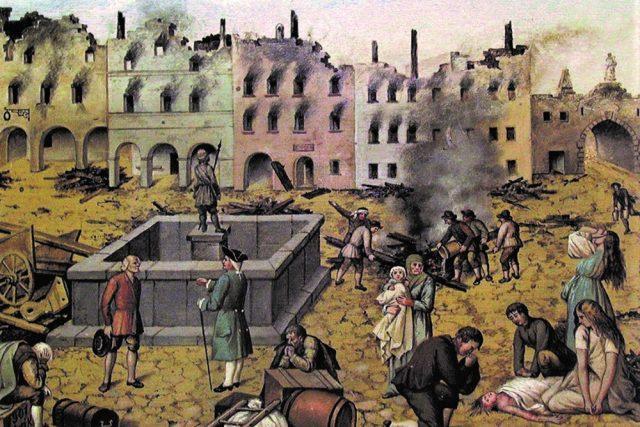 """Výřez z ostrostřeleckého terče """"Po požáru na náměstí Jindř. Hradeckém r. 1801"""""""