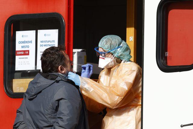 Odběrové místo kvůli koronaviru v Česku