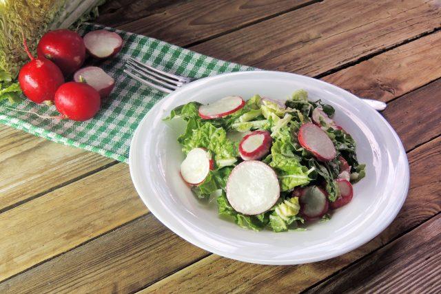 Salát, ředkvičky, zdravá strava, zelenina, dieta, hubnutí. Ilustrační foto